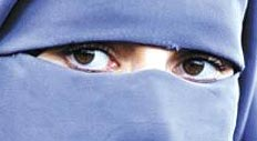 Eyes of woman wearing a niqab
